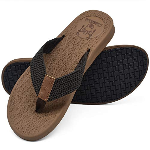 - KuaiLu Mens Flip Flops Thong Sandals Yoga Foam Slippers Brown