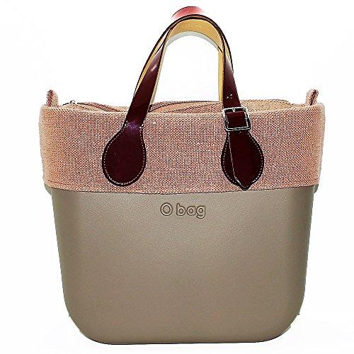 Borsa o bag mini roccia con sacca interna e bordo coordinato lino phard e manico corto in vernice bordeaux (k)