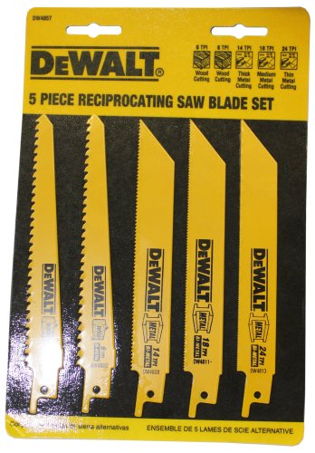 DEWALT DW4857 Metal/Woodcutting Reciprocating Saw Blade Set, 5-Piece