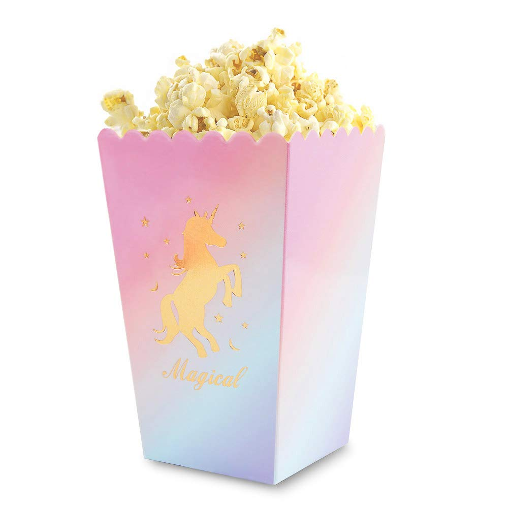 Unicorn Popcorn Boxes, Opret 12 Pack Pastel & Gold Unicorn Treat Boxes Popcorn Containers Unicorn Goodie Boxes Unicorn Birthday Party Favor Boxes Unicorn Party Supplies for Girls