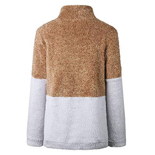 Couture Poches Laine Top Flanelle Sanfashion Chaud Marron À Femme Sweats Zipper Polaire Hoodie Haut Capuche ww7q6Hx