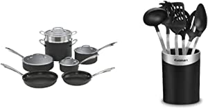 Cuisinart Dishwasher Safe Hard-Anodized 11-Piece Cookware Set, Black & CTG-00-BCR7 Barrel Crock with Tools, Set of 7