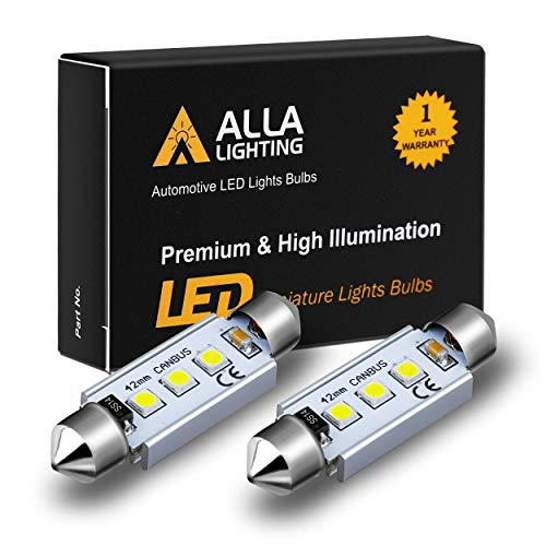 Alla Lighting CANBUS 211-2 578 LED Bulbs Super Bright 41mm 42mm Festoon 3030 SMD 212-2 569 6413 LED Lights Bulb for Interior Map, Dome, Trunk, Step Courtesy, License Plate Lights, 6000K Xenon White