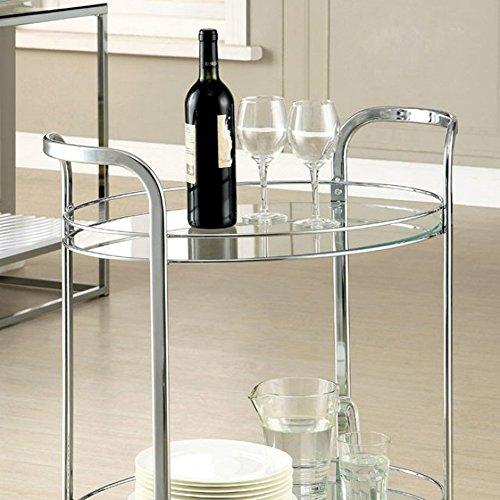 Furniture of America CM-AC228 Loule Chrome Serving Cart Kitchen Islands by Furniture of America