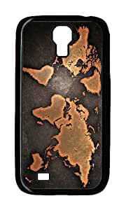 Samsung S4 Case,VUTTOO Cover With Photo: Grunge World Map For Samsung Galaxy S4 I9500 - PC Black Hard Case
