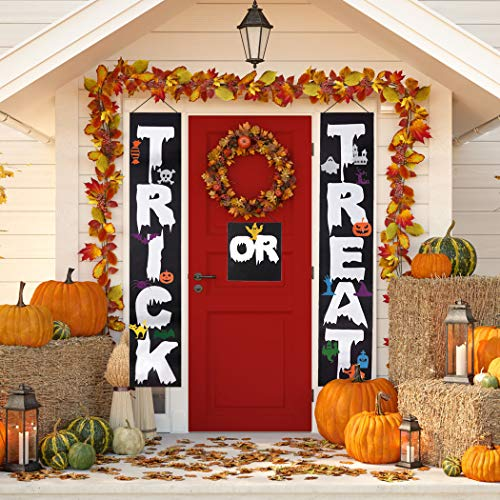 Diy Happy Halloween Sign (Halloween Porch Sign,Coxeer Trick or Treat Halloween Banner, Halloween Hanging Sign Banner with 16 DIY Accessories,Home Porch Front Door Halloween)
