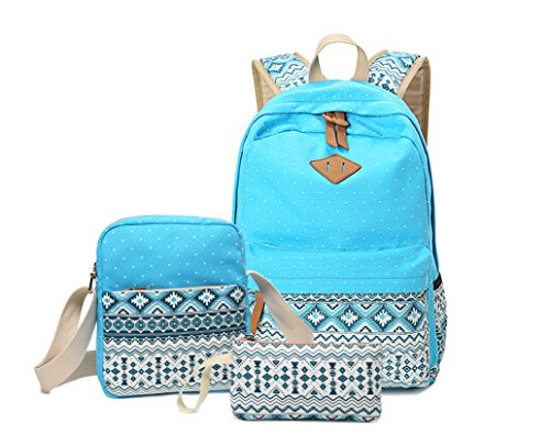 AKABELA-Geometry-Dot-Casual-Canvas-Backpack-Bag-Fashion-Cute-Lightweight-Backpacks-Shool-Backpack-For-Teen-GirlsTravel-Hiking-Daypack