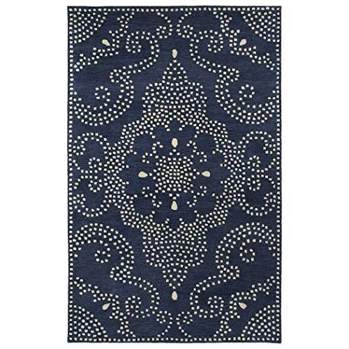 Bombay Home Hand-Tufted Lola Mosaic Navy Medallion Wool Rug (2'0 x 3'0) - 2' x 3'