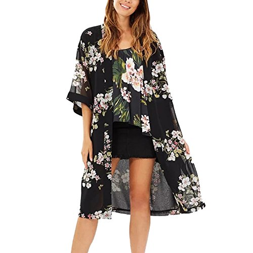 - Women Floral Print Cover Blouse Tops Bikini Swimwear Beach Swimsuit Smock