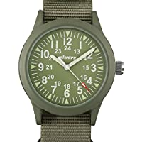 INFANTRY Mens Army Military Field Analog Watch Green Nylon Quartz Wrist Watches for Men 12/24Hr