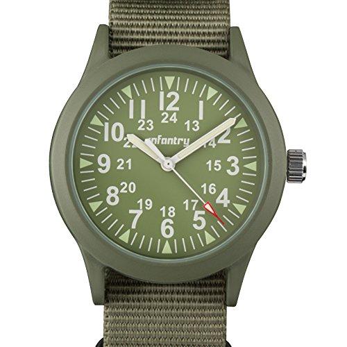 INFANTRY Mens Army Military Field Analog Watch Green Nylon Quartz Wrist Watches for Men 12/24Hr