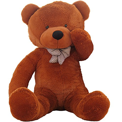 WOWMAX 4 Foot White Dark Brown Huge Teddy Bear Cuddly Stuffed Plush Animals Teddy Bear Toy Doll 47