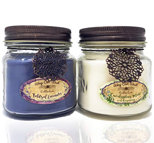 Way Out  West Aromatherapy Candles Stress Relief 2 Pack with Natural Essential Oils of Lavender, Eucalyptus Spearmint and Rosemary (2) 8 Ounce Jar Candles- Spa Quality Gift and Made in America by Way Out  West