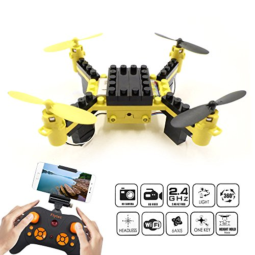 DIY Building Blocks Drone with Camera, FLYTEC T11S FPV Quadcopter Drone Headless Mode Auto Return with LED Lights Replacement Battery RC Mini Drones Great for Beginners (Yellow)