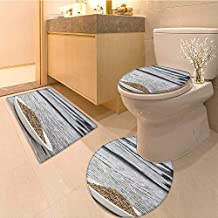 MikiDa 3 Piece Toilet lid Cover mat Set Dill herb Seeds in White Bowl Over Wooden Background Customized Rug Set
