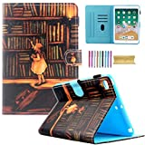 iPad Mini Wallet Case - Mini 1 2 3 4 Kids Case - Motie PU Leather Stand Smart Case Cover with Auto Sleep Wake Function for 7.9 inch Apple iPad Mini 1 Mini 2 Mini 3 Mini 4 - Book Shelf