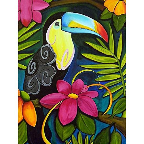 (5D Diy Diamond Painting Set Decorating Cabinet Table Stickers Crystal Rhinestone Diamond Paintings Pictures For Study Room, Tropical Forest Flower Toucan,17.7 X 23.6 Inch(Frameless))