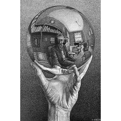 Hand with Reflecting Sphere, Self-Portrait in Spherical Mirror by M.C. Escher Art Poster Print, Overall Size: 21.75x25.5, Image Size: 14x21 (Mc Escher Poster)