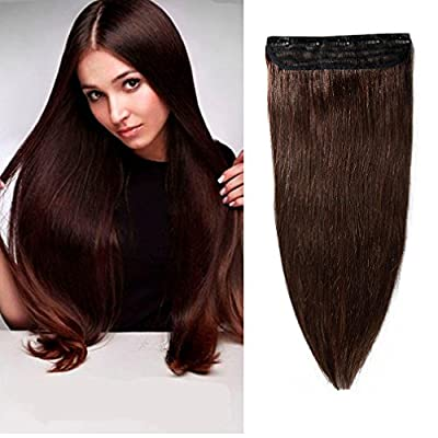 16-22inch 100% Remy Clip in Human Hair Extensions Natural Hair Grade 7A Quality 3/4 Full Head 1 Piece 5 Clips Long Thick Soft Silky Straight for Women Beauty