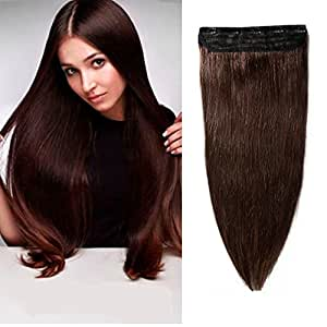 """100% Remy Clip in Human Hair Extensions 16-22inch Natural Hair Grade 7A Quality 3/4 Full Head 1 Piece 5 Clips Long Thick Soft Silky Straight for Women Beauty 16"""" / 16 inch 80g ,#2 Dark Brown)"""