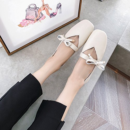 De Zapatos Cuero Cuadrada Suela El Albaricoque Suave Y Plana Zapatos De de poca De De Zapatos Verano Siete Color Cabeza Pretty Fondo Arco Piso Mujer KPHY Treinta nqZvaTa