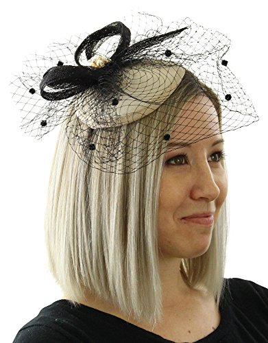 Juliet Womens Sinamay Fascinator Hat with Dot Veil and Rhinestone Tea Party Derby Wedding Accessory (Taupe)