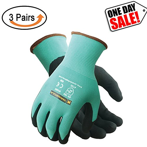 (Tarantula Nitrile Coated Safety Work Gloves for General Purposes, Lightweight Work Gloves, 13 Gauge Mint Green Polyester Shell, Black Sandy Nitrile on Palm and Fingers, 3 Pair per Pack)