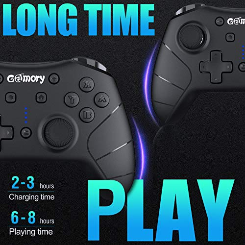 Gamory Controller per Joypad Nintendo Switch Connessione Bluetooth Wireless Ricaricabile Gamepad con Asse Giroscopio Turbo a Doppio Impatto Regolabile Compatibile con Nintendo Switch / Switch Lite