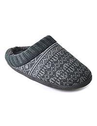 Mens Crochet Fairisle Slip-On Slippers