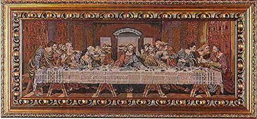 Last Supper Tapestry with an ornate gold-painted wood frame, 35 x 16.5inches. Made in Italy. by GSV001