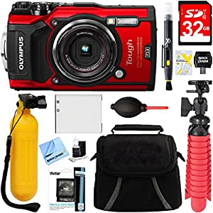 Olympus TG-5 12MP 4x Optical Zoom Digital Camera (Red) + 32GB Deluxe Accessory Bundle