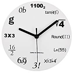 Math Clock, Timelike Unique Wall Clock Modern Design Novelty Maths Equation Clock - Each Hour Marked By a Simple Math Equation (12(30CM))