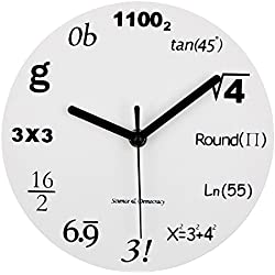 Math Clock, Timelike Unique Wall Clock Modern Design Novelty Maths Equation Clock - Each Hour Marked By a Simple Math Equation