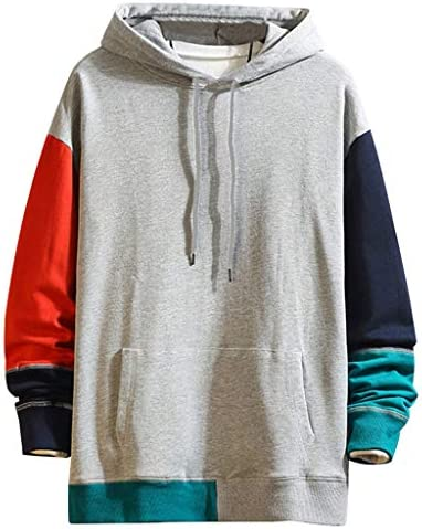 WYTong Men s Hoodies Long Sleeve Crewneck Color Block Splicing Pullover Sweatshirts Lightweight Active Top Blouse