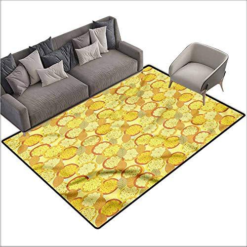 - Corridor Rug Colorful Yellow and Brown,Citrus Fruit Lemon 60