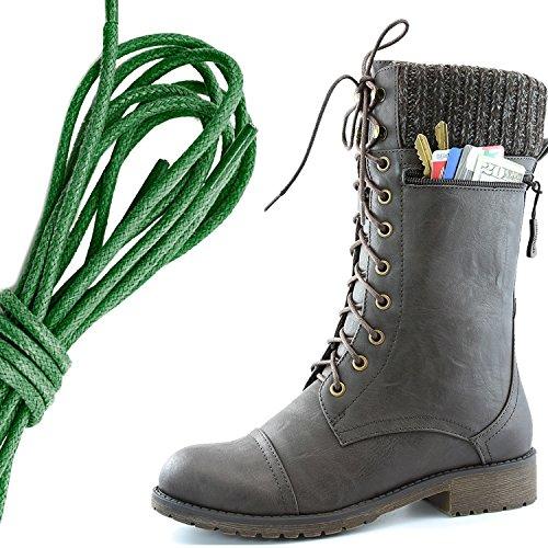 Dailyshoes Womens Combat Stijl Lace Up Enkellaarsje Ronde Neus Militaire Knit Creditcard Mes Geld Portemonnee Pocket Laarzen, Donkergroen Bruin Pu