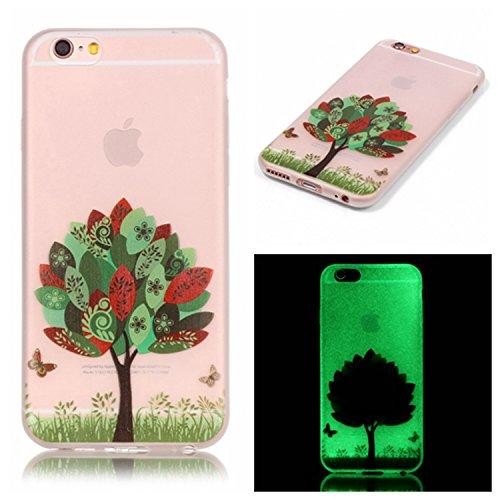 iPhone 6 / 6S Plus Hülle mit Fluoreszenz , Modisch Grüner Baum Transparent TPU Silikon Schutz Handy Hülle Handytasche HandyHülle Etui Schale Schutzhülle Case Cover für Apple iPhone 6 / 6S Plus