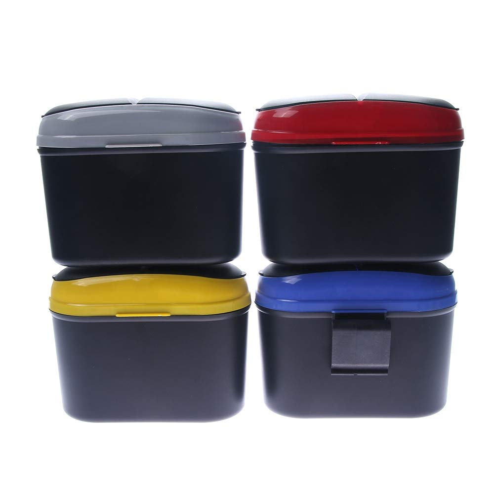 Leakproof Durable Reliable Quality Gray WSERE Vehicle Car Small Trash Can Mini Auto Garbage Cans Rectangle Waste Container Basket Bin with Lid