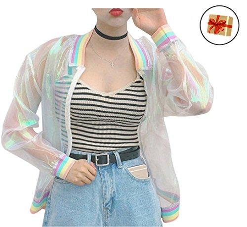 Clothes Colorful - RARITY-US Women Girls Hologram Rainbow Bomber Jacket Iridescent Transparent Summer Sun-Proof Coat