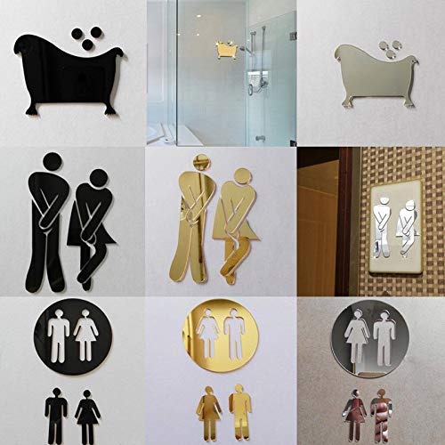 Amazon.com: Batop 3D Mirror Sticker - Funny WC Toilet Door Entrance Sign Men Women - Bathroom DIY Wall Sticker Decals Bar Home Decor (Ladies Gents): Home & ...
