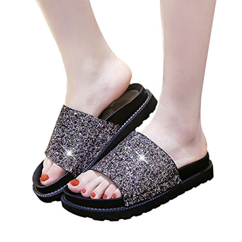 Elevin(TM)Women Summer Fashion Roman Peep-toe Platform Flat Flip Flops Slipper Sandals Shoes Gold NWe68ey