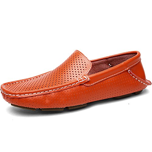 Shenn Mens Hollow Flat Heel Classic Slip On Leather Loafers Shoes Orange