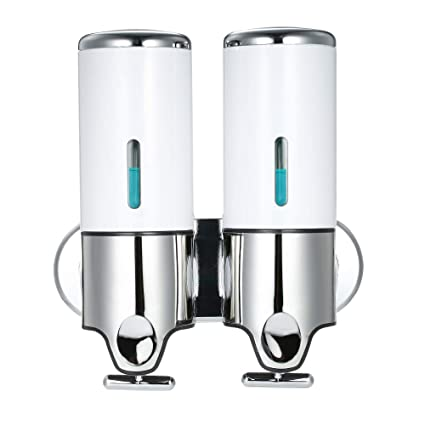 Decdeal 500ml x 2 Doble Dispensador de Jabon de Pared,Manual Dispensador de Líquido Dispensador