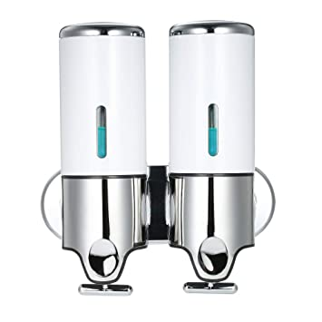 Decdeal 500ml x 2 Doble Dispensador de Jabon de Pared,Manual Dispensador de Líquido Dispensador de Gel de Ducha de Champú Jabón: Amazon.es: Hogar
