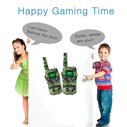 OuterStar Durable Walkie Talkies for Kids,22 Channel FRS/GMRS 5KM Long Range Two Way Radios with 2 Free Straps Back-lit LCD Screen/Handheld for Kids/Families Toys, Games, Gifts(Green Camouflage)