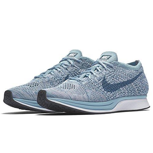 Nike Womens Flyknit Racer White / Leggion Blue 526628-102 (misura: 7)