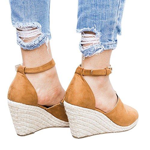 Hebilla De Chancletas Mujer Sandalias Plataforma Marrón Zapatos Verano Cuña Alto Minetom Alpargatas Tacón Playa Espadrille nIp7taax