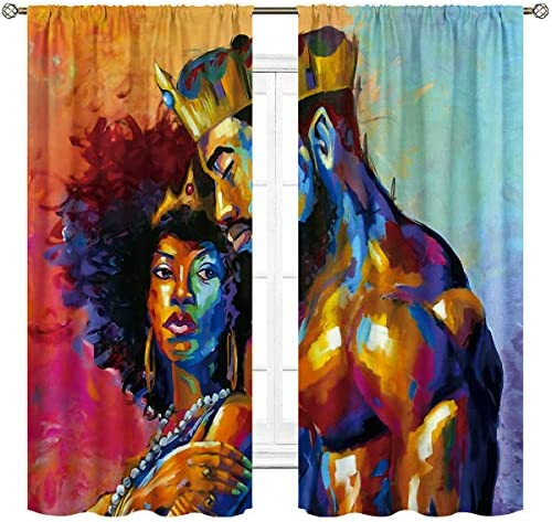Cinblue African King and Queen Curtains Rod Pocket Lovers Oil Painting Couple Afro Woman Colorful Art Printed Living Room Bedroom Window Drapes Treatment Fabric 2 Panels 42 W x 63 L Inch