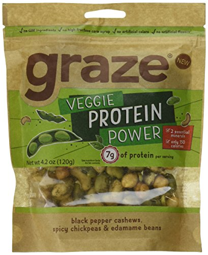 Graze Natural Veggie Protein Power Snack Mix with Spicy Chickpeas, Edamame Beans and Black Pepper Cashews, Tasty, Healthy, Natural Nut Trail Mix, 4.2 Ounce Shareable Bag ()