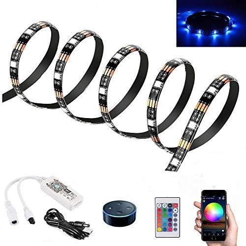 1m WiFi Luce di Striscia LED per Amazon Alexa e Google Home, Inteligente Nastro LED Impermeabile Flessibile Corda RGB Illuminazione con telecomando e controller APP per iOS Android